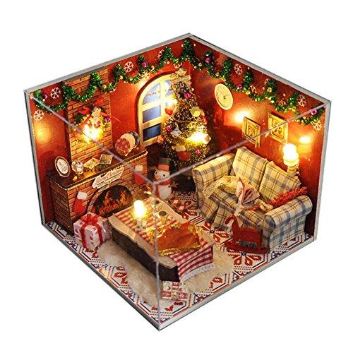 LED Puppenhaus Miniatur mit Möbeln,Idee DIY Hölzernes Puppenhaus-Kit Sowie staubdicht,für Geburtstag Weihnachts Geschenk Den Valentinstag Geschenk,161613cm