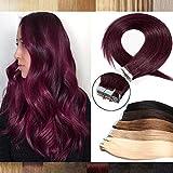 Silk-co Extensions Cheveux Adhésifs 14 Pouces Extension A froid Cheveux Naturel (20 PCS * 2G) Extension Tape Adhesive - #99J Vin Rouge