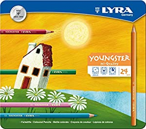 LYRA 2411240 M24 Youngster-  Estuche de metal con 24 lápices de colores Importado de Alemania