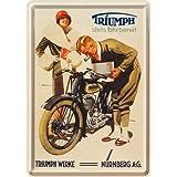 Nostalgic-Art 16269 Biker's Corner Triumph Werke Nürnberg Blechpostkarte, 10 x 14 cm