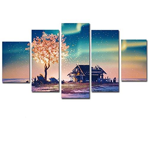 DSADDSD Dekorative Gemälde Aurora Landschaft 5 Zauber Wohnzimmer Dekoration Wandmalerei Hängende Bilder (größe : 30x40cmx2 30x60cmx2 30x80cmx1)