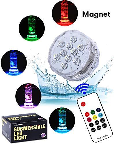 Unterwasser Licht mit RF Fernbedienung - Alilimall Wasserdichte whirlpool Multifarbene Magnet beleuchtug LED Beleuchtung Badewannen LED Poolbeleuchtung für Teich, Aquarium Weihnachtsdekoration