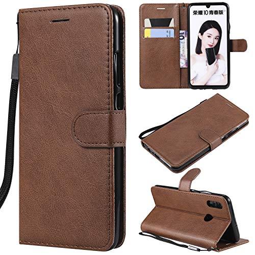 Artfeel Flip Brieftasche Hülle für Huawei Honor 10 Lite/Huawei P Smart 2019, Premium PU Leder Handyhülle mit Kartenhalter,Retro Bookstyle Stand Hülle mit Magnetverschluss Handschlaufe-Braun -
