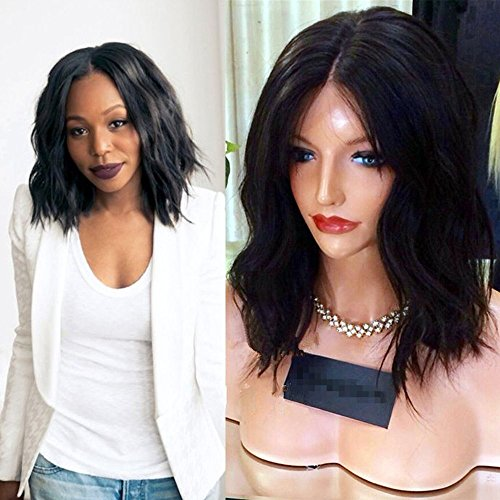 Sunwell Wig Brazilian Virgin Human Hair Natural Wavy Short Bob Glueless Lace Front Wig with Baby Hair for Black Women 12 inch 130% Density Medium Capsize by Sunwell(TM)