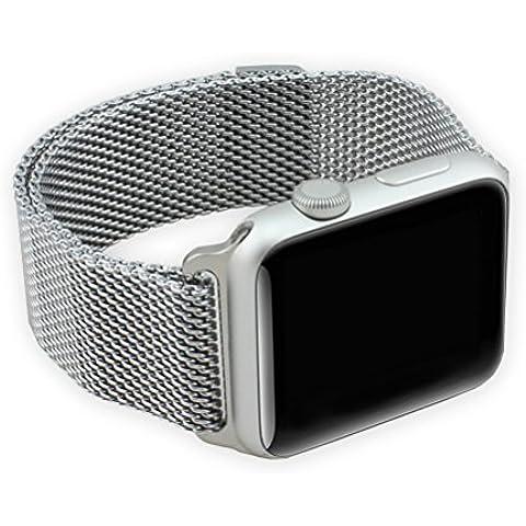 Aohro Acero Inoxidable Milanese Loop Pulsera Banda de Reloj para Apple Watch (42mm) Edición & Sport SmartWatch Pulsera Watch Band con metal cierre desplegable --- Mesh silver