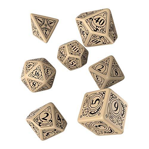 Q Workshop Steampunk beige & Black RPG Dice Set 7 Polyhedral Pieces -