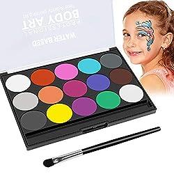 Kinderschminken Schminkfarben, Wasserlösliche Schminkfarbe Kinder Parties Halloween Karneval Make-up Bodypainting - Wasserbasiert und Ungiftig 15 Farben Schminkpalette