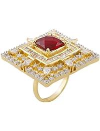 KMD Golden & Red American Diamond Studded Brass Ring
