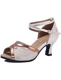 BYLE Sandalias de Cuero Tobillo Modern Jazz Samba Zapatos de Baile Latino Adulto shoesSummer Talón Zapato de Baile...
