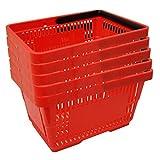 5 Einkaufskörbe aus Kunststoff Plastik mit Henkel 20 Liter 40cm stapelbar rot