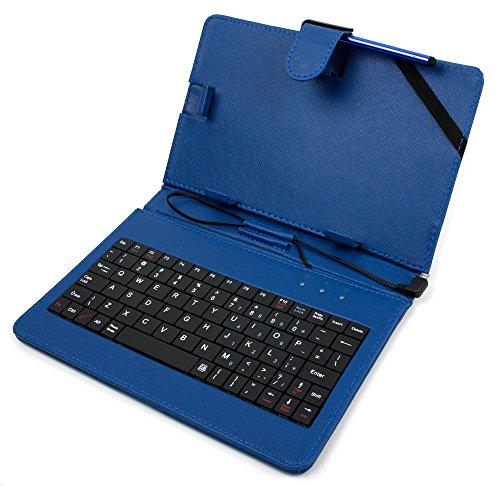 DuraGadget Blaue Schutzhülle Etui Tasche Case aus Premium Lederimitat mit integrierter Tastatur / Keyboard für Odys Xelio PhoneTab 7 | Junior Tab 8 Pro | Syno (X610111) | Maven 7 | Mira | Orbit LTE | Pro Q8 | Xelio Phone Tab 3 LTE Tablets - ENGLISCHE QWERTY Belegung