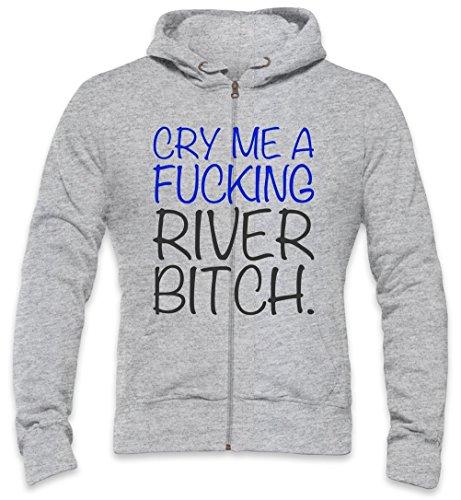 Cry Me A Fucking River Bitch Slogan Mens Zipper Hoodie Medium