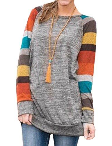 Junshan Damen Langarm Gestreift Pullover Rundhals Lose Herbst Pulli Tshirt Hemd Oberteile Tops (40, Grau-rot) (Leinen Baby Gap)