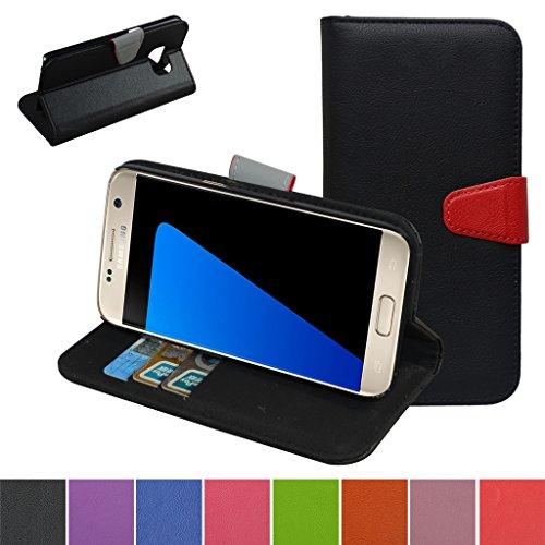 Galaxy S7 Hülle,Mama Mouth Brieftasche Schutzhülle Case Hülle mit Kartenfächer und Standfunktion für Samsung Galaxy S7 SM-G930F Smartphone 2016,Schwarz