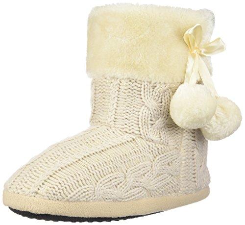 Airee Fairee Pantofole Donna Le Signore Ragazze Maglia Effetto Tessuto Pantofola con Pom Poms