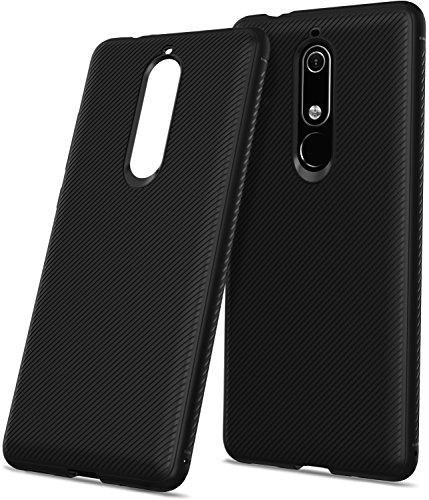 NEWZEROL Ersatz für Nokia 5.1 hülle, TPU hülle Handyhülle [Kratzfest] [Stoßdämpfung] Twill Design Gel Hülle weiche klare schutzhülle für Nokia 5.1 [Lebenslange Ersatzgarantie]-Schwarz