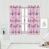 Rideaux Occultants à Oeillet de Fenêtre Motif des Châteaux et de la Licorne, Isolation Thermique Décoration pour Fille Bébés 2 Panneaux(2X L 117 X H 137cm,Pink)