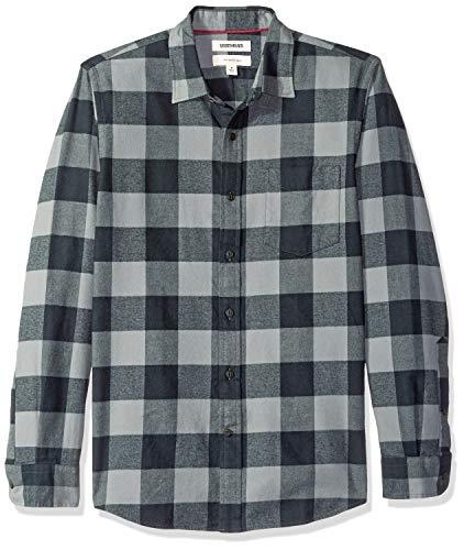 Marchio Amazon - Goodthreads, camicia in denim da uomo, vestibilità slim, a maniche lunghe, in flanella spazzolata, Nero...