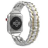 MoKo Correa para Apple Watch Series 4/3/2/1 - Reemplazo SmartWatch Band de Reloj de Acero Inoxidable Metálica Pulsera para 2015 & 2016 & 2017 & 2018 Nike+ Apple Watch 38mm 40mm, Plata & Oro