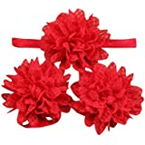 FEITONG(TM) 3 Pieces Cute Baby Girls Toddler Flower Hairband Headband Flower Barefoot Sandal Shoes Set (Red)