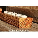 5er Kerzenständer Holzscheit, Buche mit Marmorfäule