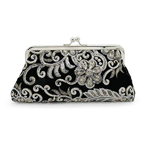 ZTDXCL Damen Clutch Bankett Braut Kleid Party Tanzpartybeutel Retro Samt gestickte Perlen Handtasche Geldbörse Geldbörse, schwarz - Kleid Schwarzen Gestickten Gold