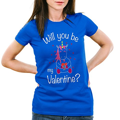 CottonCloud Will you be my Valentine? Einhorn Damen T-Shirt Valentinstag Blau