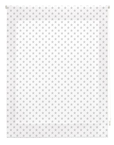 Blindecor Stars Estor Enrollable, Tela, Blanco con Estrellas Gris, 110 x 180 cm