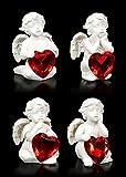 Kleine Cherubim Figuren mit roten Herzen - 4er Set | Engelfigur