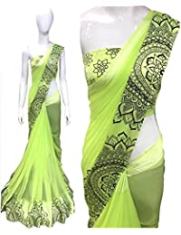 Deepjyoti Creation Women's Georgette Green Color Sartin Print Saree With Blouse Piece