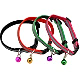 Coribe 4Pcs Reflective Small Dog Puppy Cat Collar with Bell Adjustable Harness 4 Colours New