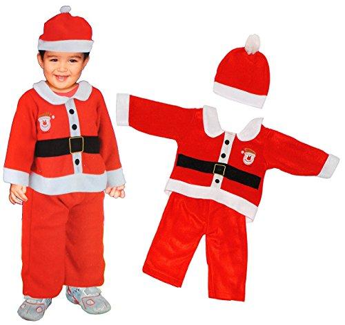 3 tlg. BABY Kostüm Weihnachtsmann - 1 bis 2 Jahre - Gr. 80 - 92 - Karneval / Weihnachten / Nikolauskostüm / Nikolaus - Hose + Jacke + Mütze - (Mädchen Für Namen Halloween)