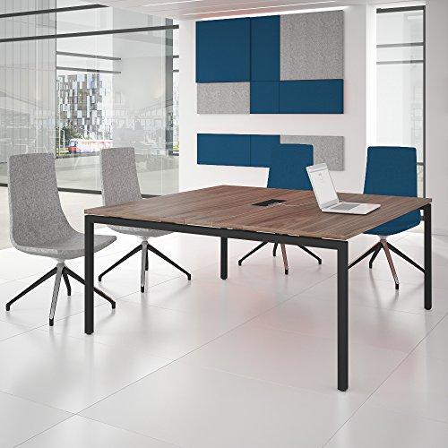 NOVA Konferenztisch 160x164cm Nussbaum mit ELEKTRIFIZIERUNG Besprechungstisch Tisch,...