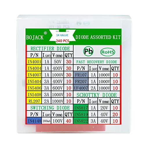 BOJACK 14 Wert 240 Stück Diodensortiment Kit Enthält Gleichrichter/Schnelle wiederherstellungs/Schottky/Schalt dioden IN4001 4004 4007 5404 5406 5408 RL207 FR107 207 UF4007 IN5817 5819 5822 4148 -