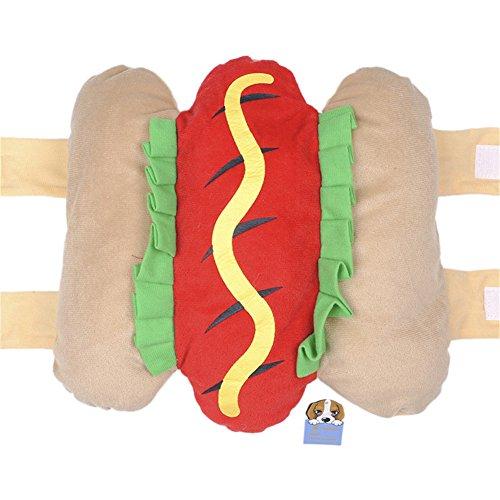 Hunde Kostüm Brot - Hundemantel Warm Wintermantel Haustier Mantel Hund Kleider,Brot Hot Dog-Kostüm Lustige Transfiguration - Größe L