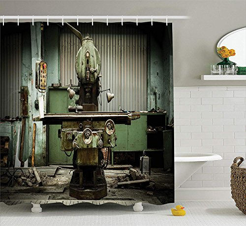 Industrial Decor Collection, Industrial Machines in Factory Drilling Manufacturing Appliances Hardware Urban Image, Polyester Fabric Bathroom Shower Curtain, 84 Inches Extra Long, Pale Green