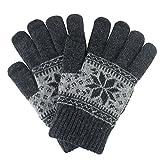 Guanti tactiles, TININNA guanti invernali unisex adulto Guanto di lana morbido per donna uomo sci di motocicletta della Neve Snowboard grigio