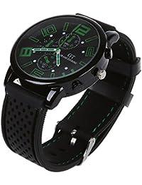 4250d1d22ce6 Reloj de pulsera - GT Reloj de pulsera de acero inoxidable de silicona  ocasional para hombres