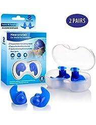 Hearprotek Bouchons d'oreille de Natation, 2 Paires de Bouchons imperméables en Silicone réutilisables pour Piscine-Mer-Bain-Natation & Sports Aquatiques Taille Adulte