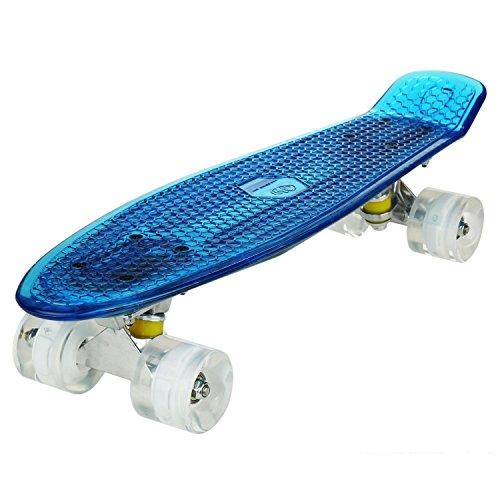 Keelied Kinder Mini Cruiser Skateboard Retro Komplettboard, 57x15cm Vintage Skate Board mit Kunststoff Deck und blinkenden LED-rollen, Cruiser-Board mit LED Leuchtrollen für Erwachsene Kinder Jungen Mädchen (Skateboard Jungen Deck)