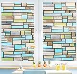AAPLUS- 45 x 200CM Film vitre adhésif Autocollant fenêtre pour maison porte verre Stickers Électrostatique Sans Colle en PVC Anti regard Translucide & Occultant avec carreaux de couleur