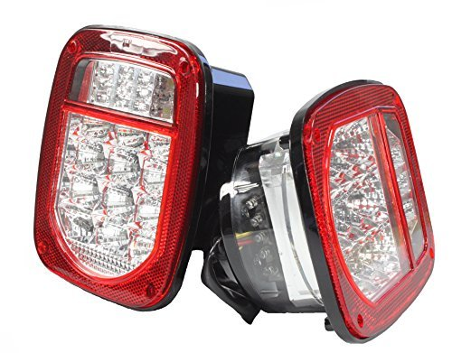 BRIGHT CLEAR LENS rot Jeep TJ CJ YJ JK Ersatz Bremslicht Rücklicht mit LED Illuminator am linken (Truck Trailer Boot) (Trailer Lense Tail Light)