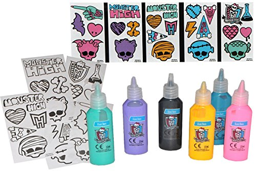 13 tlg. Set Glasmalfarbe und Vorlagen - Monster High - Bastelset Malen Malset Vampire Mädchen Zubehör (High Vampire Monster)