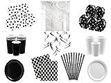 Partyset Komplettset schwarz weiß Party Geschirr 91 teilig für 16 Personen Partygeschirr Geburtstag Set schwarz weiß Teller Becher Servietten Party Deko schwarz weiß
