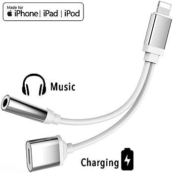 Kopfhörer-Adapter für iPhone-Adapter Ladegerät-Adapter 3,5-mm-Klinken-Dongle-Kopfhörer Aux Audio & Charge Kompatibel für iPhone X/XS/XR/8/8 Plus Unterstützung für Musik und Aufladung Geeignet