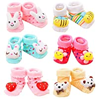 Z-Chen Baby Boys Girls 3D Cartoon Anti-Skid Baby Booties Sock Slippers (Set of 6)