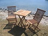 Teakholz Balkon Set 3tlg. 1 Klapptisch, 2 Klappstühle, 75% maschinengefertigt, 25% Handarbeit, ofengetrocknet, aus nachhaltig bewirtschafteten Plantagenbau