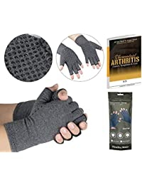 SyeNazFitness Rheumatoid Arthritis Gloves Fingerless- Warmth Therapeutic Compression Gloves for Pain Relief- Support & Improve Circulation in Wrist & Hand, Helps with Carpal Tunnel & More (S Grip)