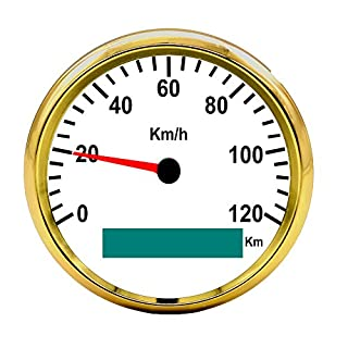 autool 85mm GPS Tacho Edelstahl Wasserdicht Gauge 120km/h für Auto PKW LKW 12V 24V