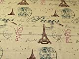 Paris Print Baumwolle Canvas Stoff beige–Meterware